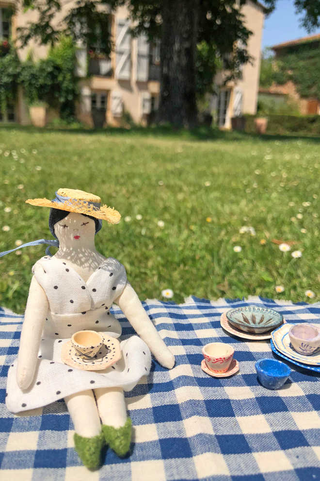 tiny rag doll picnic