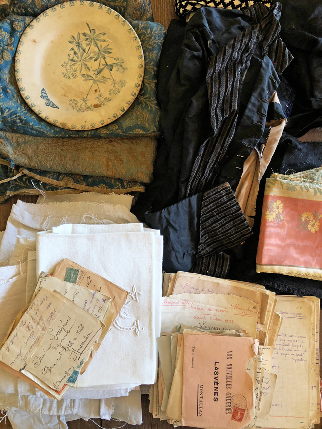 antique textiles and paper found in france