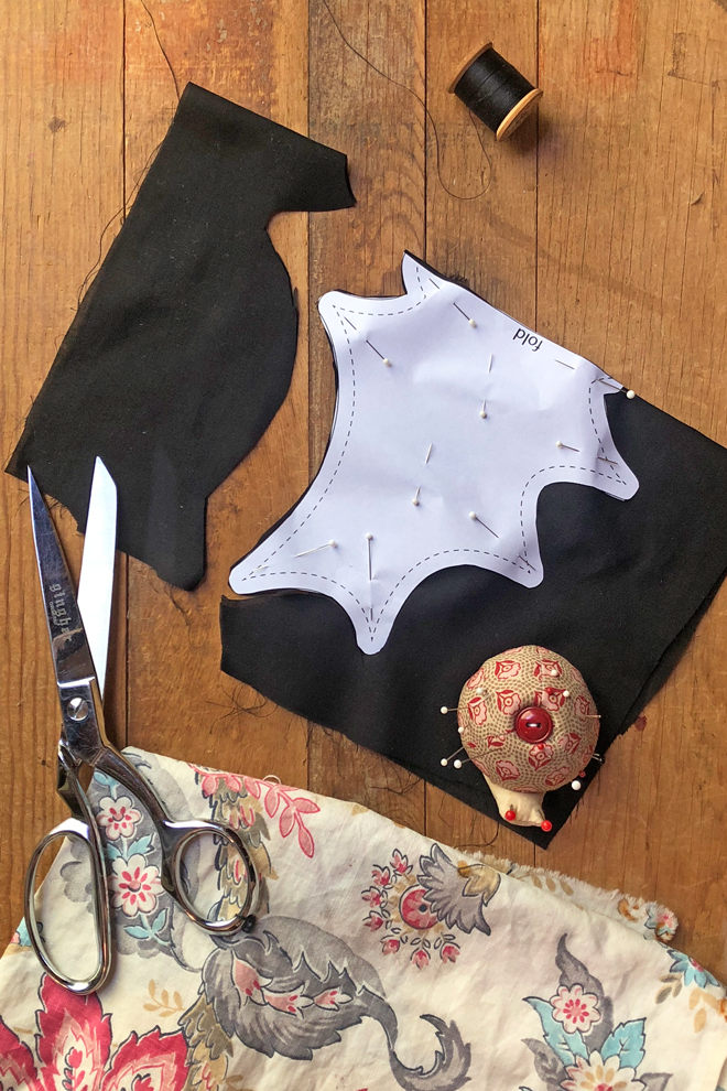 place bat on fold and cut out