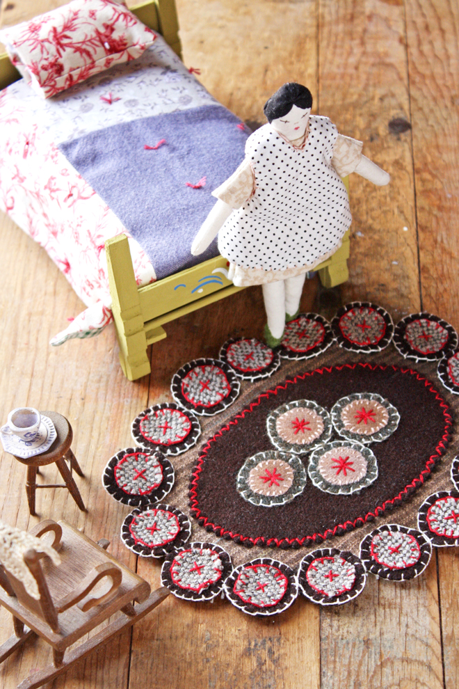 doll house rug made from wool scraps