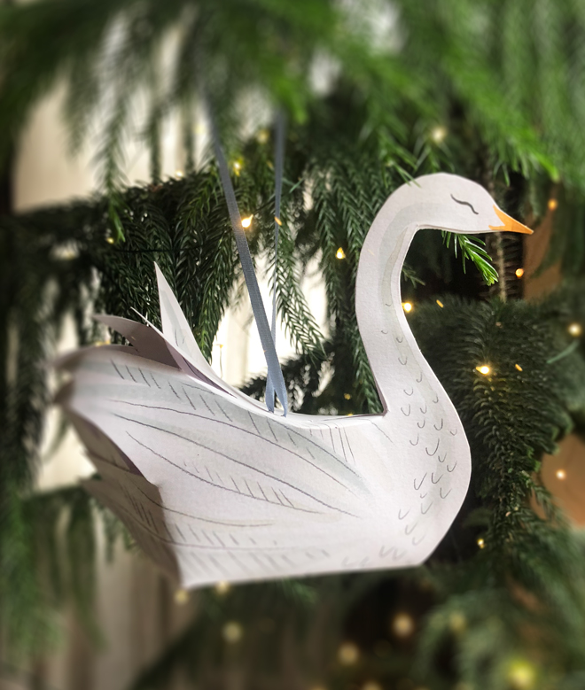 paper swan ornament diy