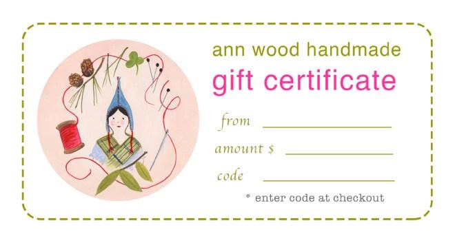 ann wood handmade gift certificate