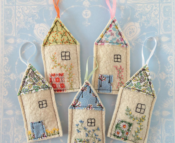 embroidered house sachets