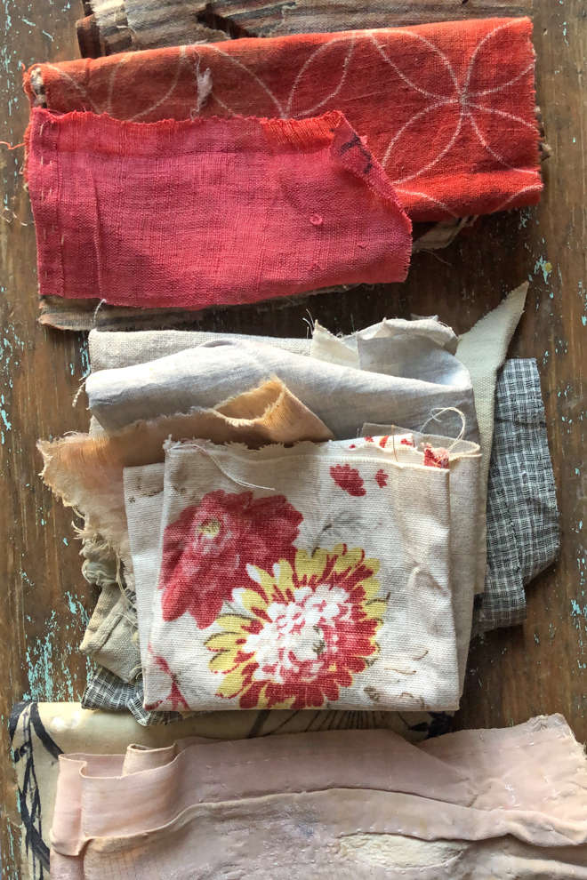 antique pink textiles