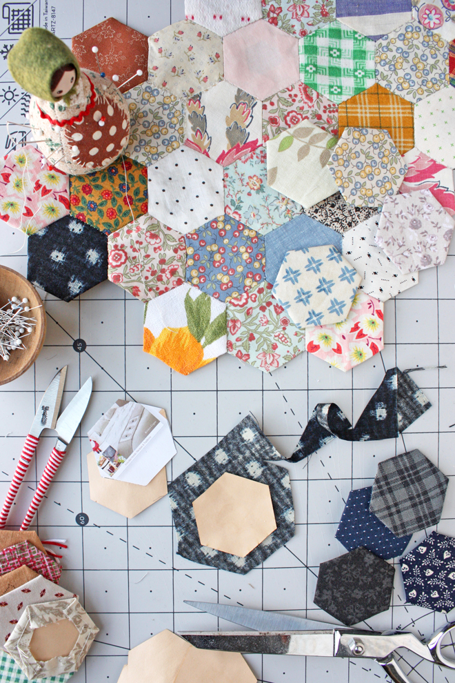 hexie scrap sewing project