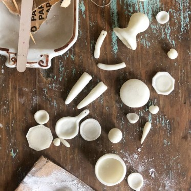 making dolls and mini dishes from salt clay