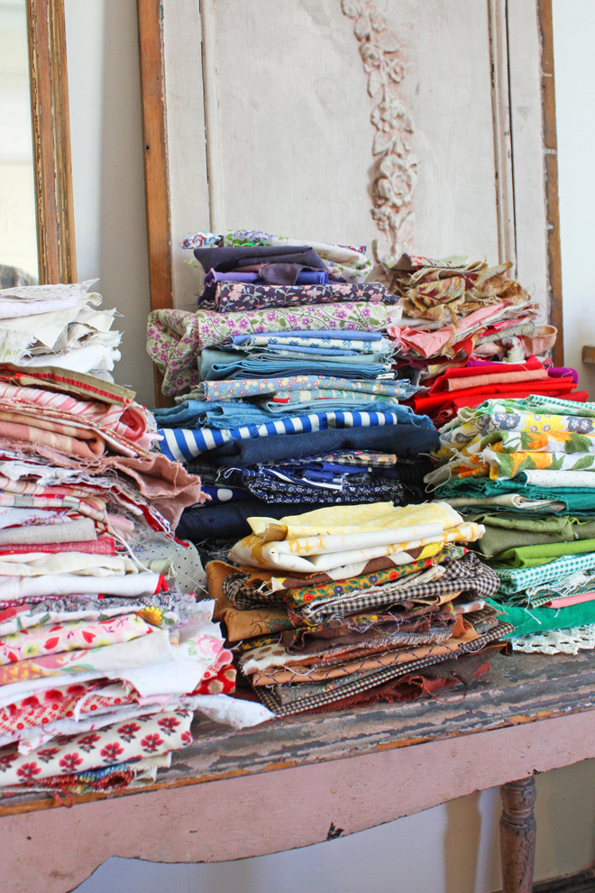 sorting quilting scraps by color