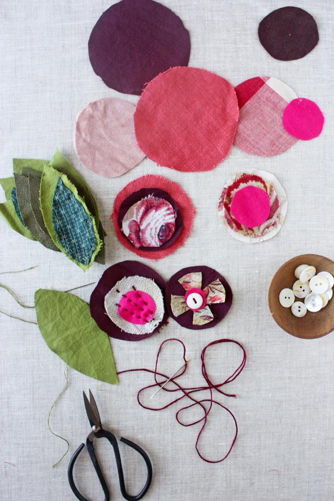 scrap flower garland DIY