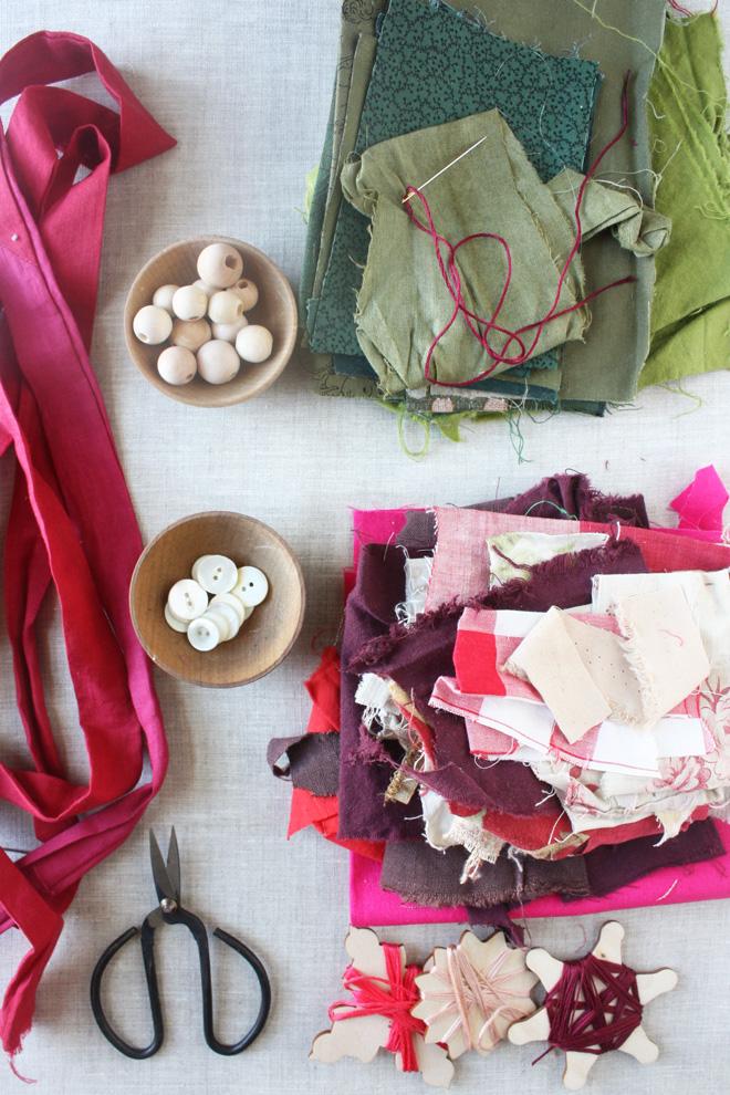 make a flower garland from scraps