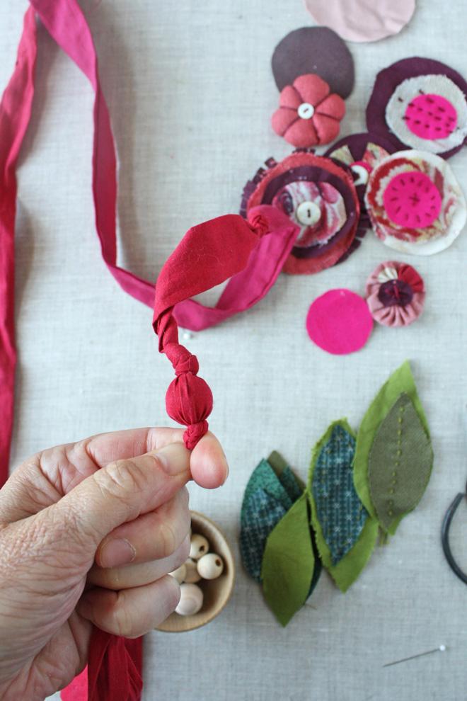 scrap fabric necklace