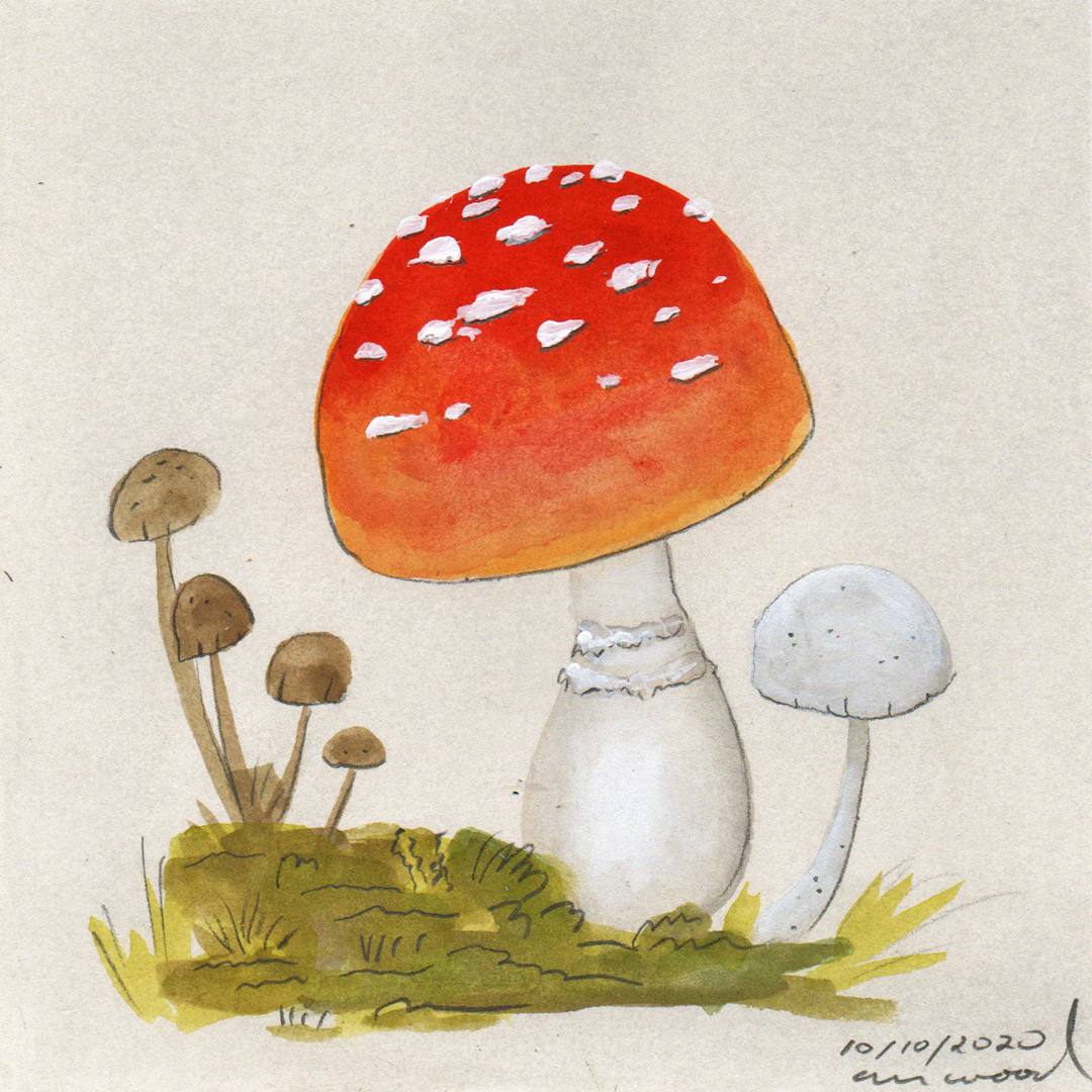 small painting : mushrooms