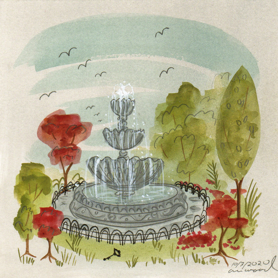 small painting : fountain