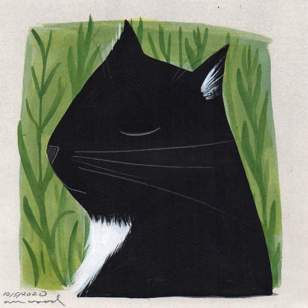 small painting : tuxedo cat