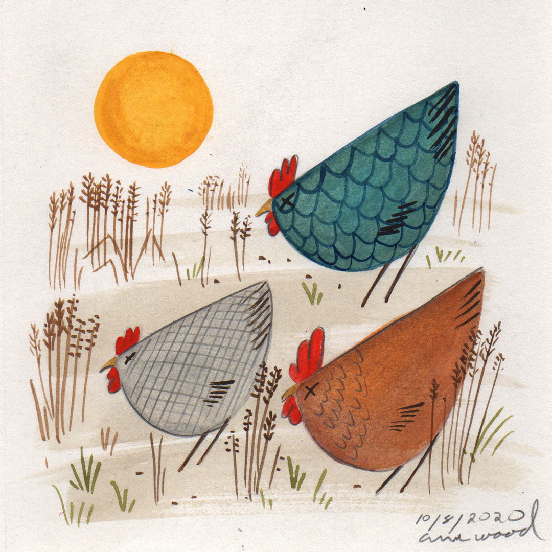 small painting : chickens
