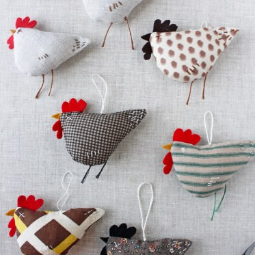 fabric scrap chicken ornaments