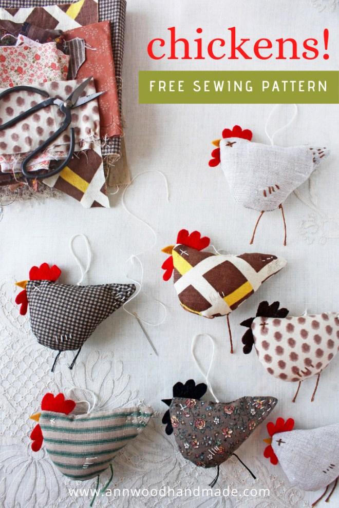 fabric chicken ornaments