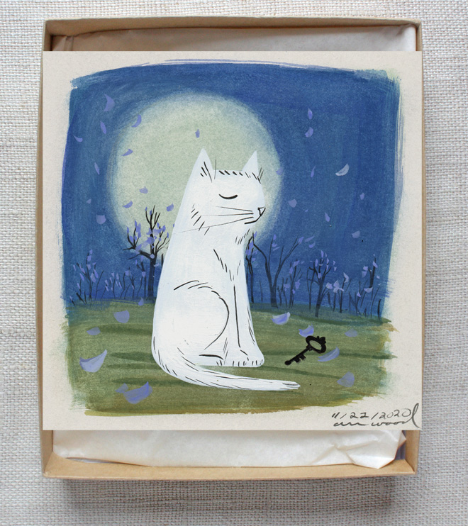 small painting : cat and moon