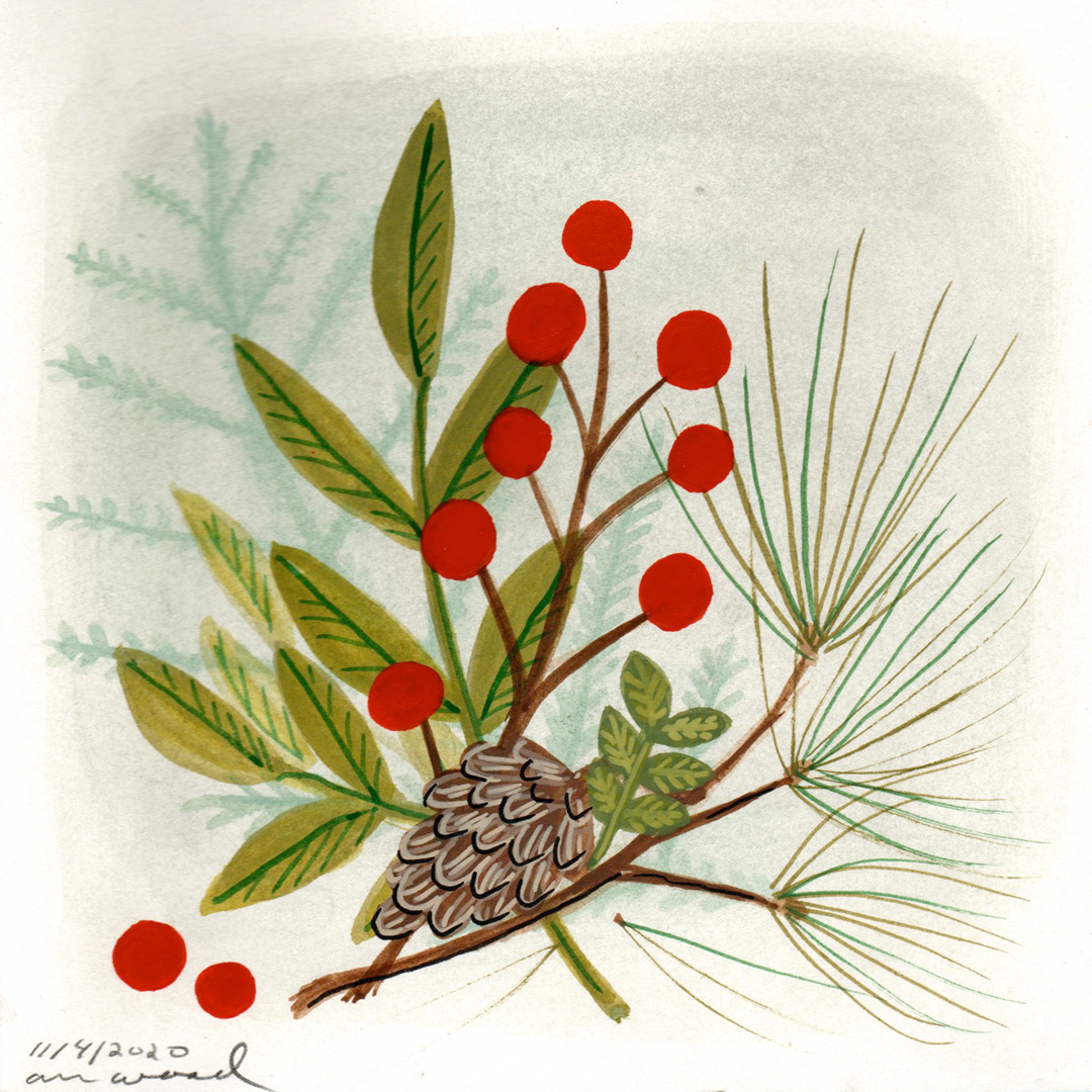 small painting : winter berries
