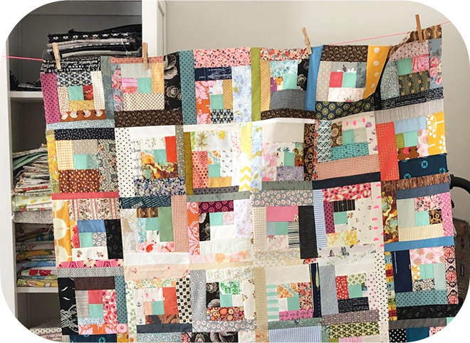 quilt top assembled from scraps