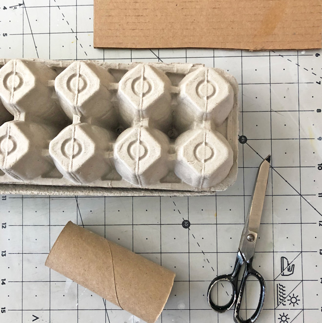 materials - tp roll, cardboard and egg carton