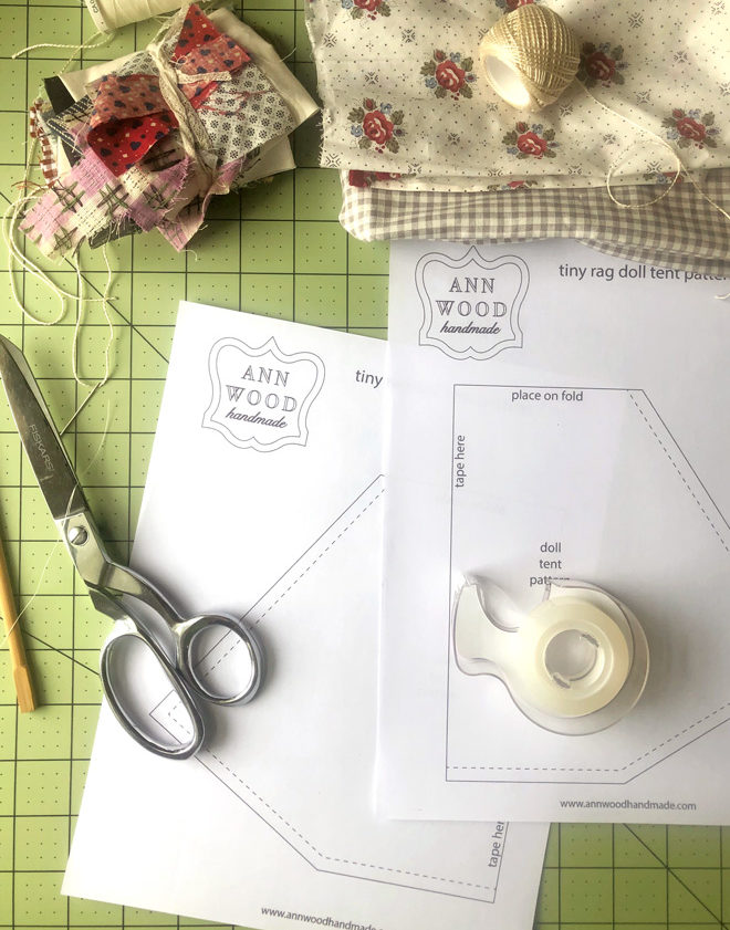 materials and pattern sheets for doll tent