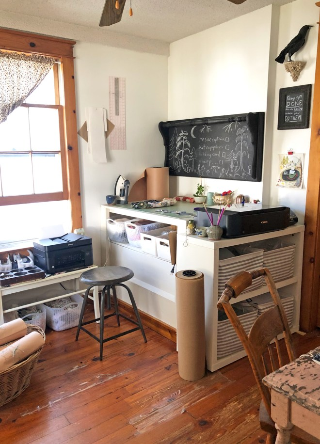 sewing room with large chalkboard