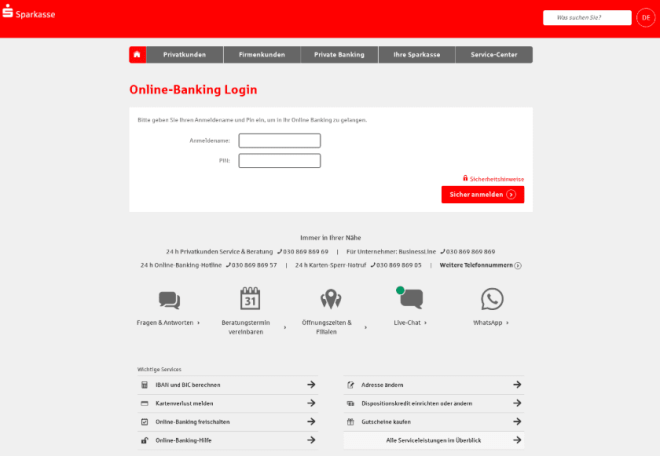 """Credential harvesting page targeting Sparkasse, a German savings bank, also hosted on a crafted """"psd2"""" domain"""