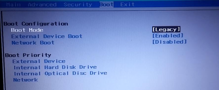 BIOS, booting live usb