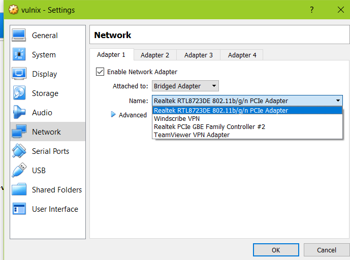 Virtualbox network settings bridged1