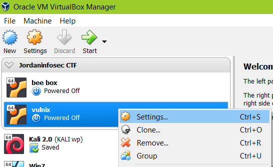 Virtualbox network settings