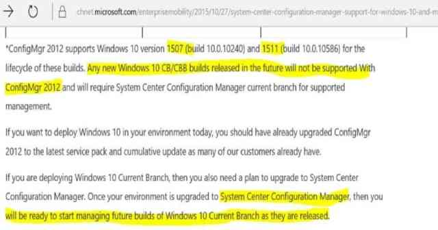 Windows 10 1607 Support with SCCM 2012