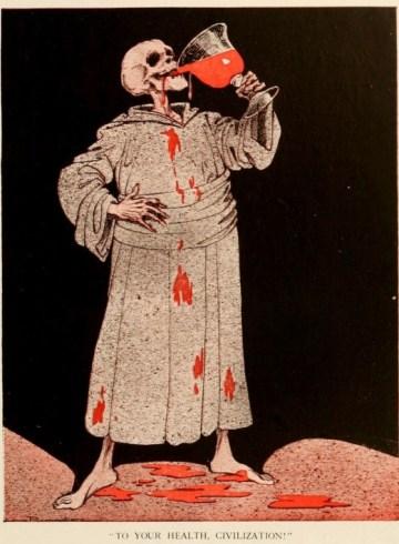 skeleton drinking blood
