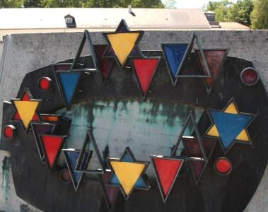 Dachau memorial with glass triangles
