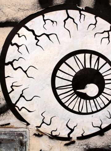 eyeball wheatpaste graphic