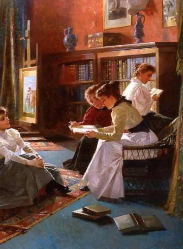 victorian painting of readers