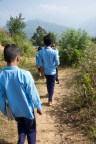 Children making their way to school