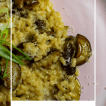 wild mushroom risotto on a pink plate