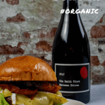 tim smith barossa shiraz and a beef burger on white plate
