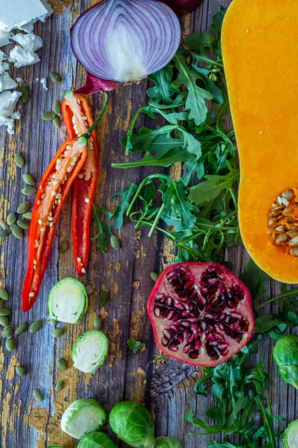 raw ingredients for roasted veg salad