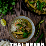thai green curry, rice and vegetables on a plate