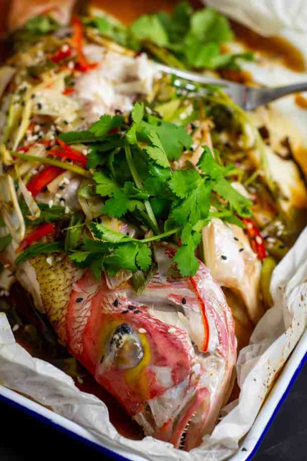 whole fish cooked en papillotte w/ Asian aromatics