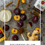 plums, bourbon, onion & spices on a vinyl mat