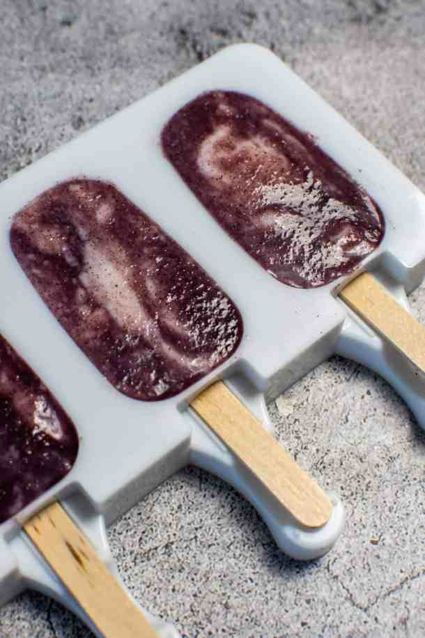 Acai ice pops in ice pop molds