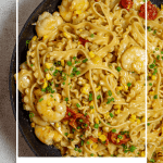 brown butter prawn pasta in frying pan