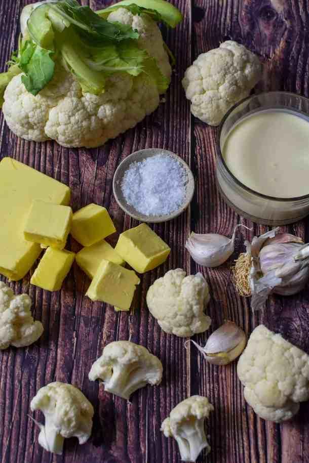 ingredients for cauliflower puree