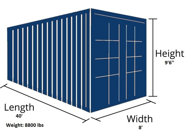 40HC high cube container outside dimensions 1