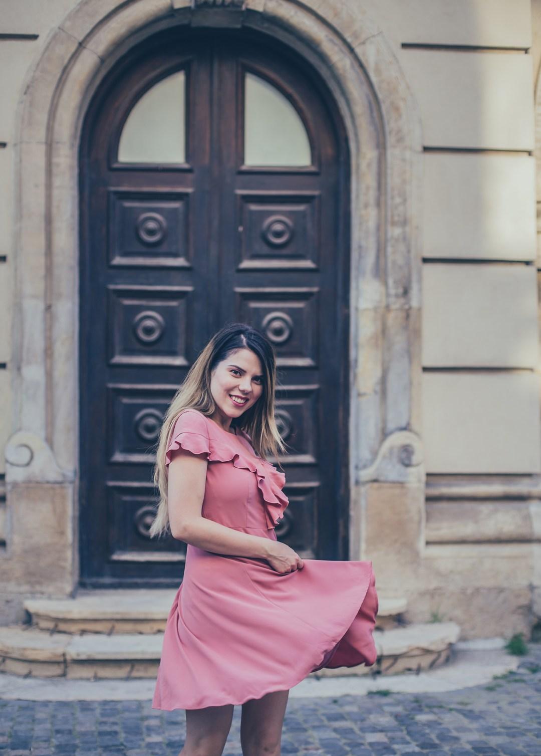 pink ruffles dress vip shop