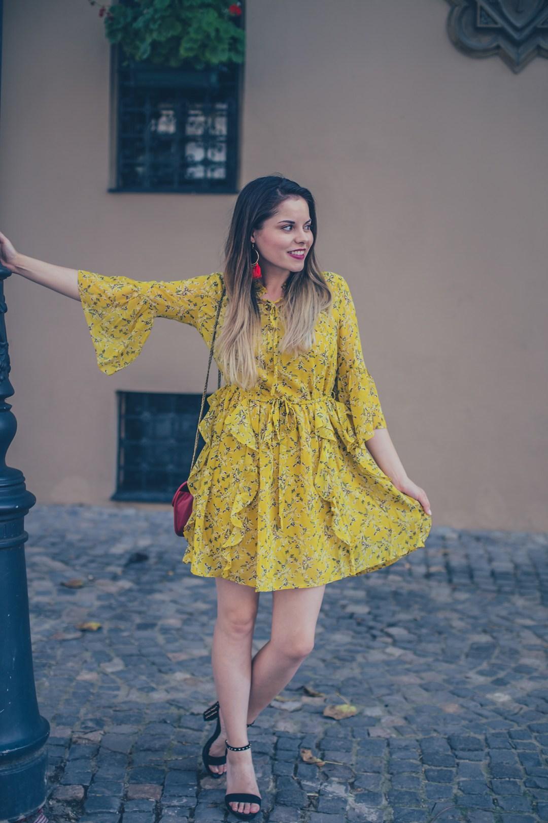 yellow ruffles dress
