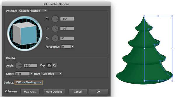 Settings for 3D Revolve on Christmas Tree