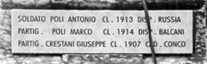 La nuova targa con il nome del Partigiano Giuseppe Crestani